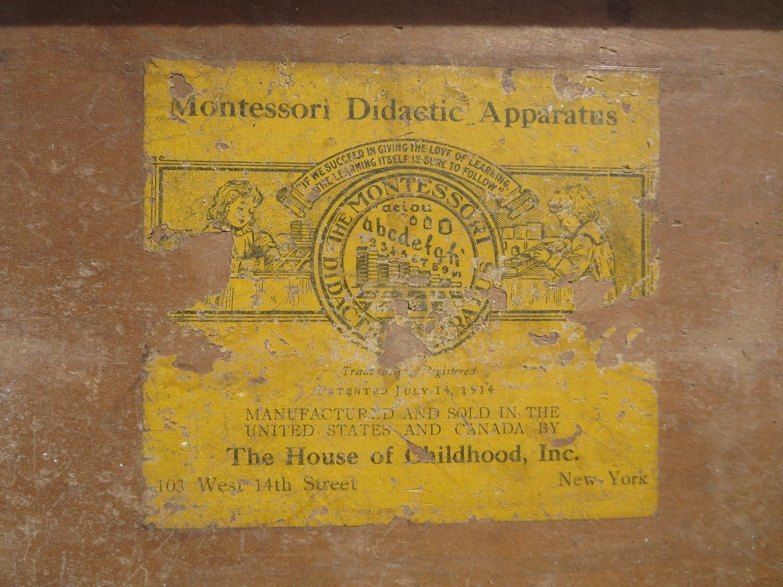"""Dr. Montessori's patent rights in the apparatus are controlled, for the United States and Canada, by The House of Childhood, Inc."" Noted in  The Montessori Method  by Maria Montessori (April, 1912)"