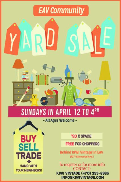 EAV Community Yard Sale April Sundays 2017 KIWI Vintage