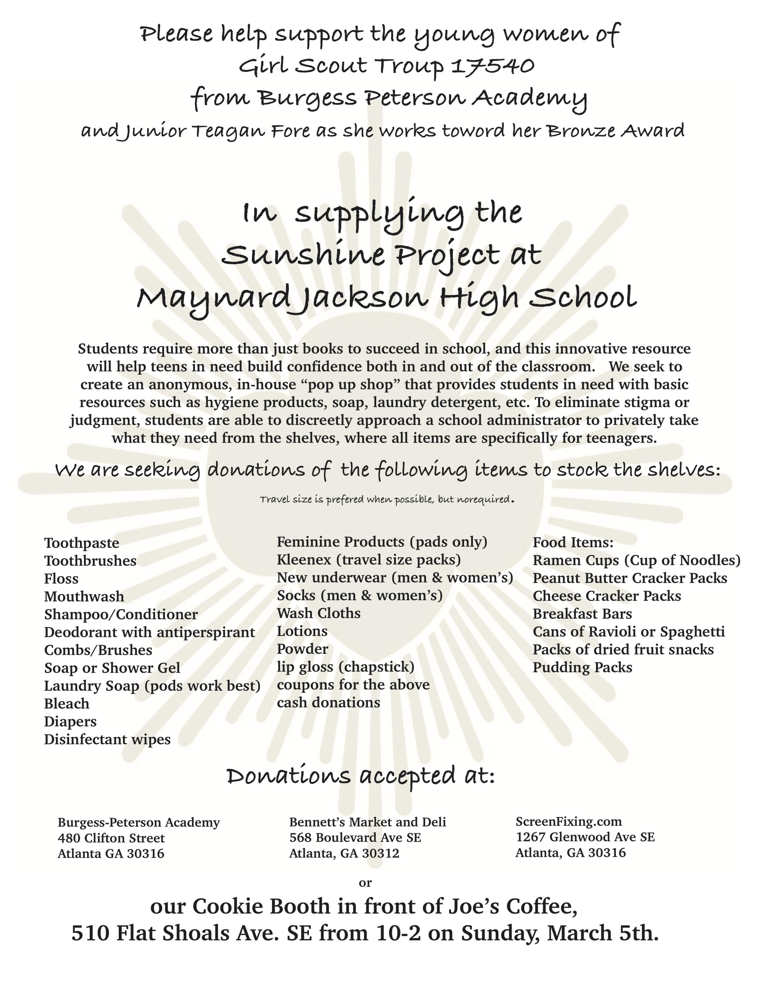 Sunshine Project at Maynard Jackson High School