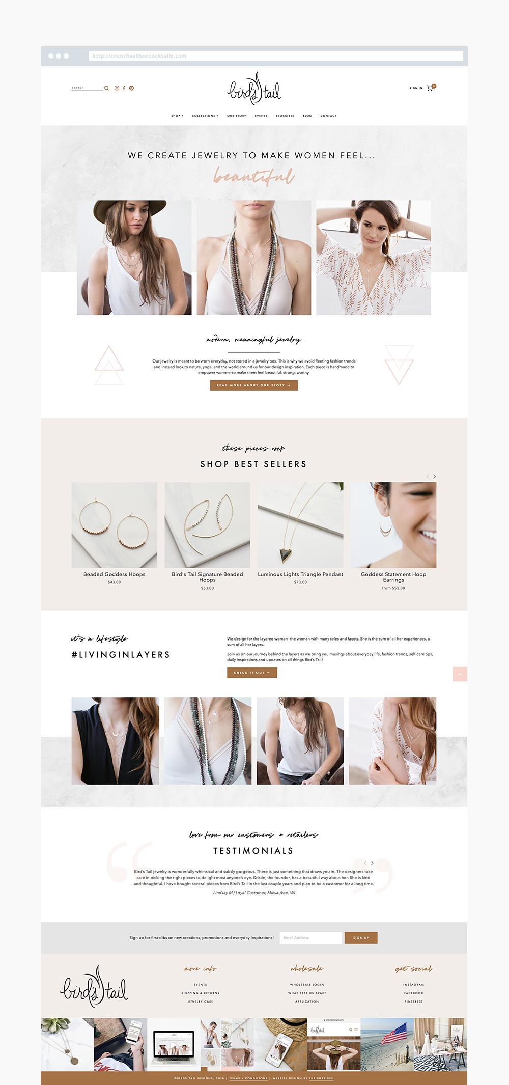 The Busy Bee Megan Baylerian Squarespace Website Birds Tail Designs Milwaukee Jewelry