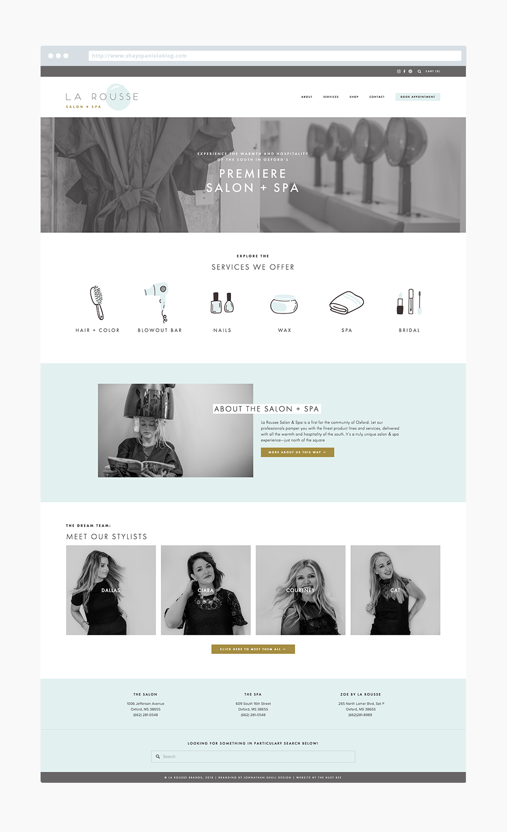 The Busy Bee Megan Baylerian Squarespace Website La Rousse Salon and Spa