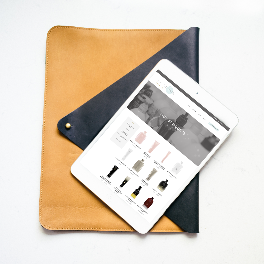 The Busy Bee Portfolio Custom Squarespace Website La Rousse Salon and Spa Tablet