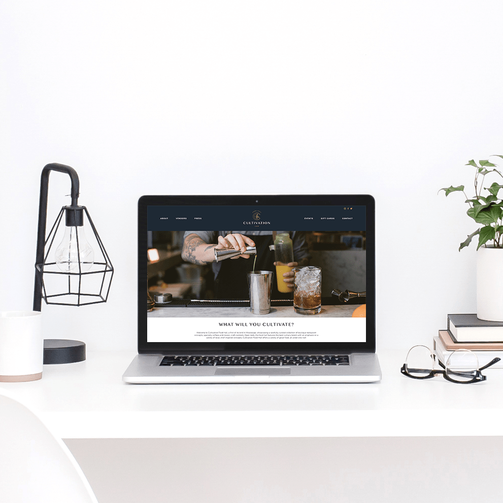 The Busy Bee Megan Baylerian Squarespace Website Cultivation Food Hall Laptop