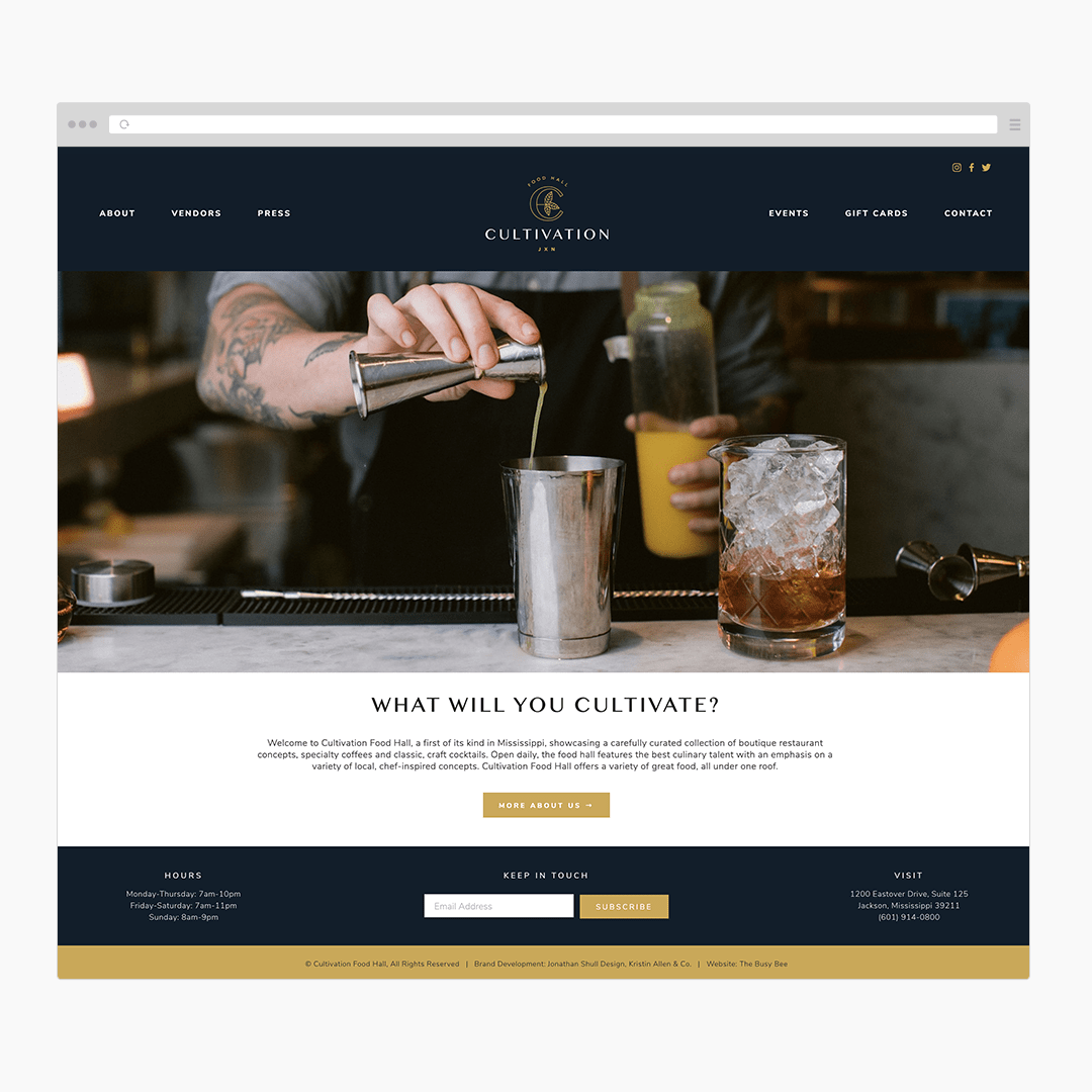 The Busy Bee Megan Baylerian Squarespace Website Cultivation Food Hall Browser