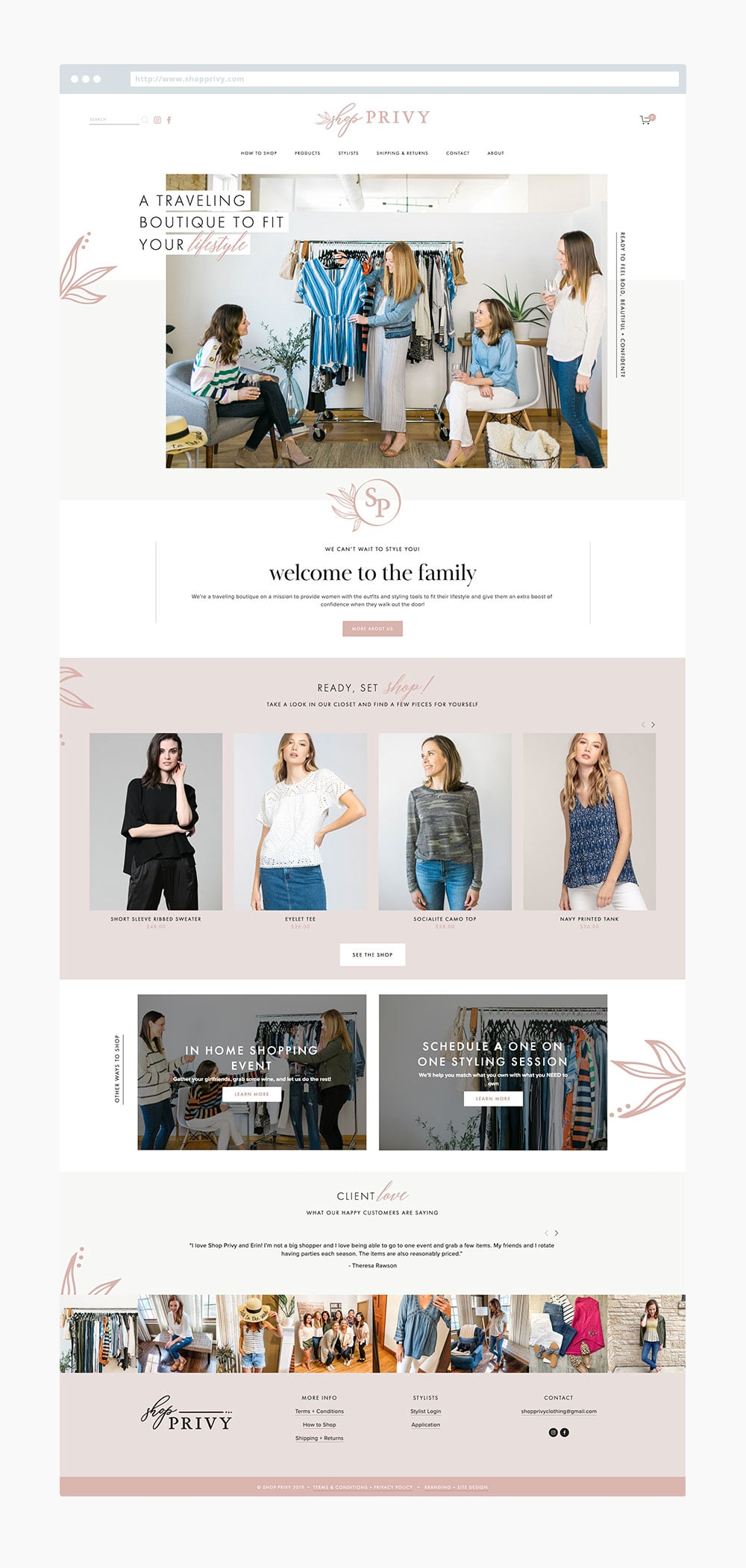 The Busy Bee Megan Baylerian Squarespace Website Shop Privy Homepage Mockup