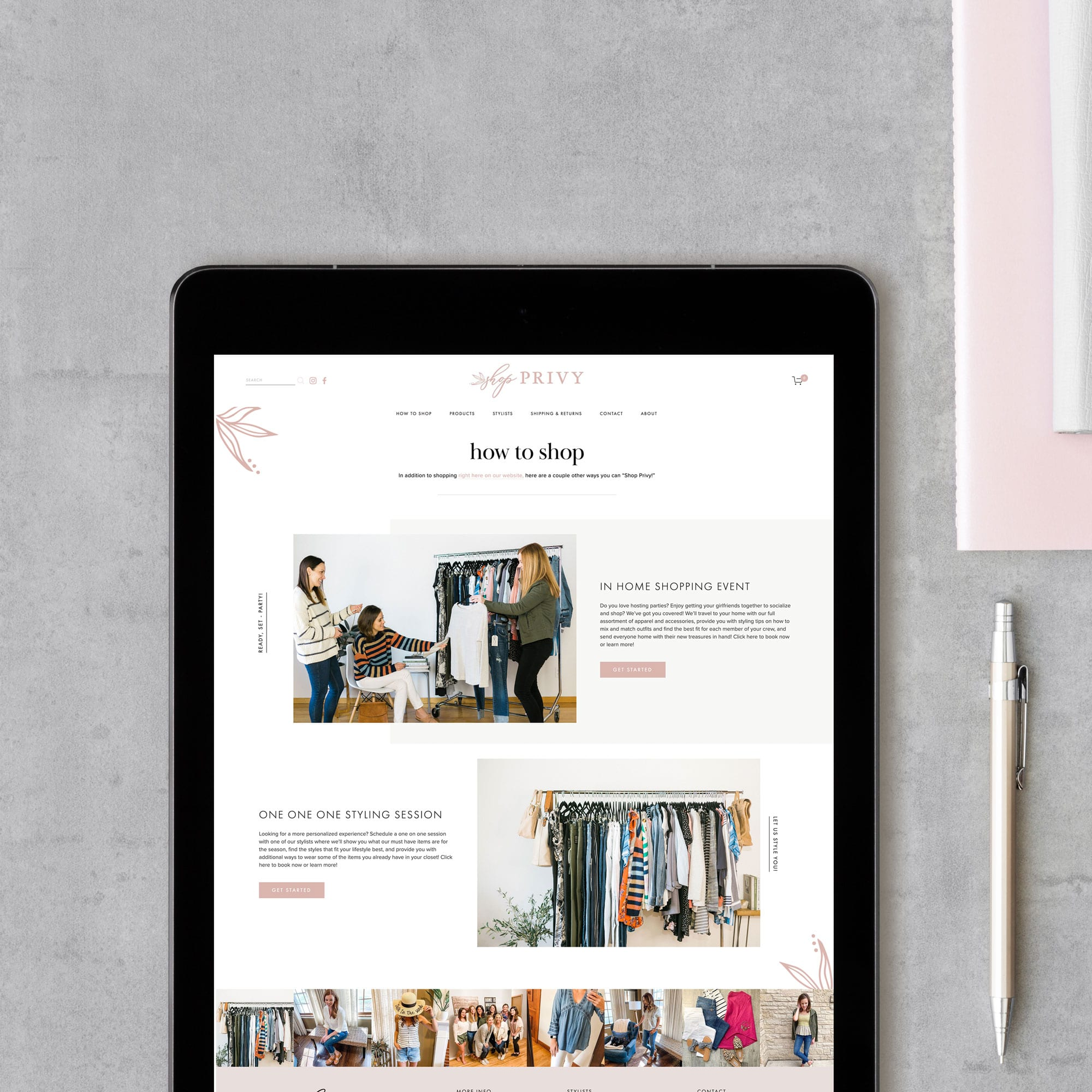 The Busy Bee Megan Baylerian Squarespace Website Shop Privy iPad