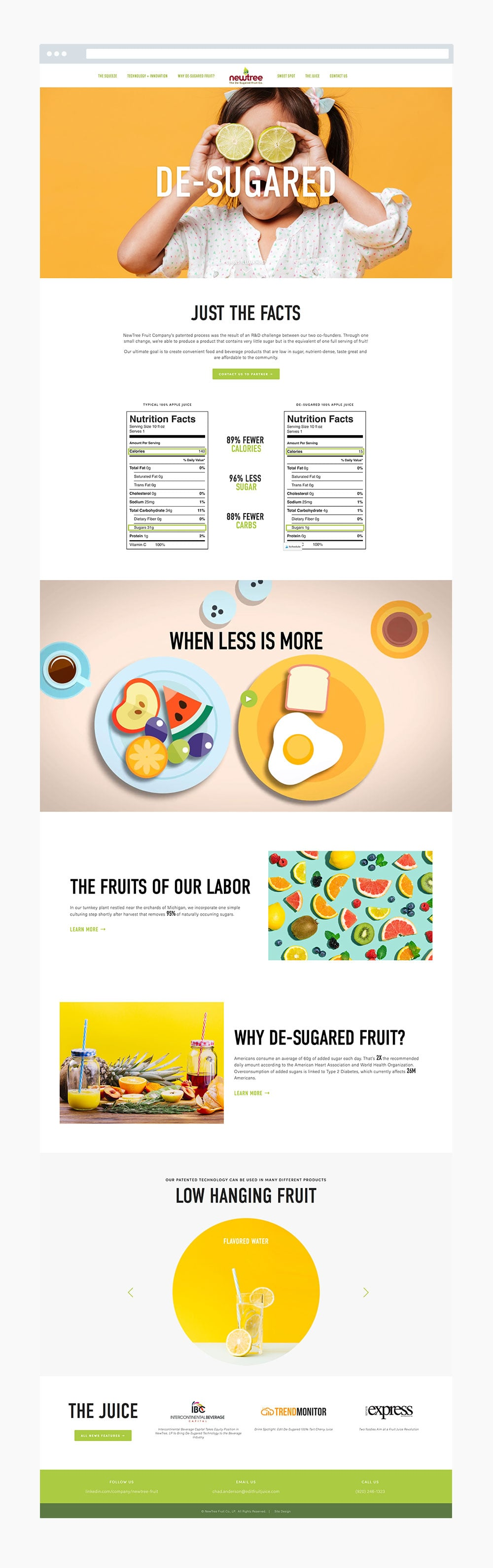 The Busy Bee Megan Baylerian Squarespace Website NewTree Fruit Company Homepage Mockup