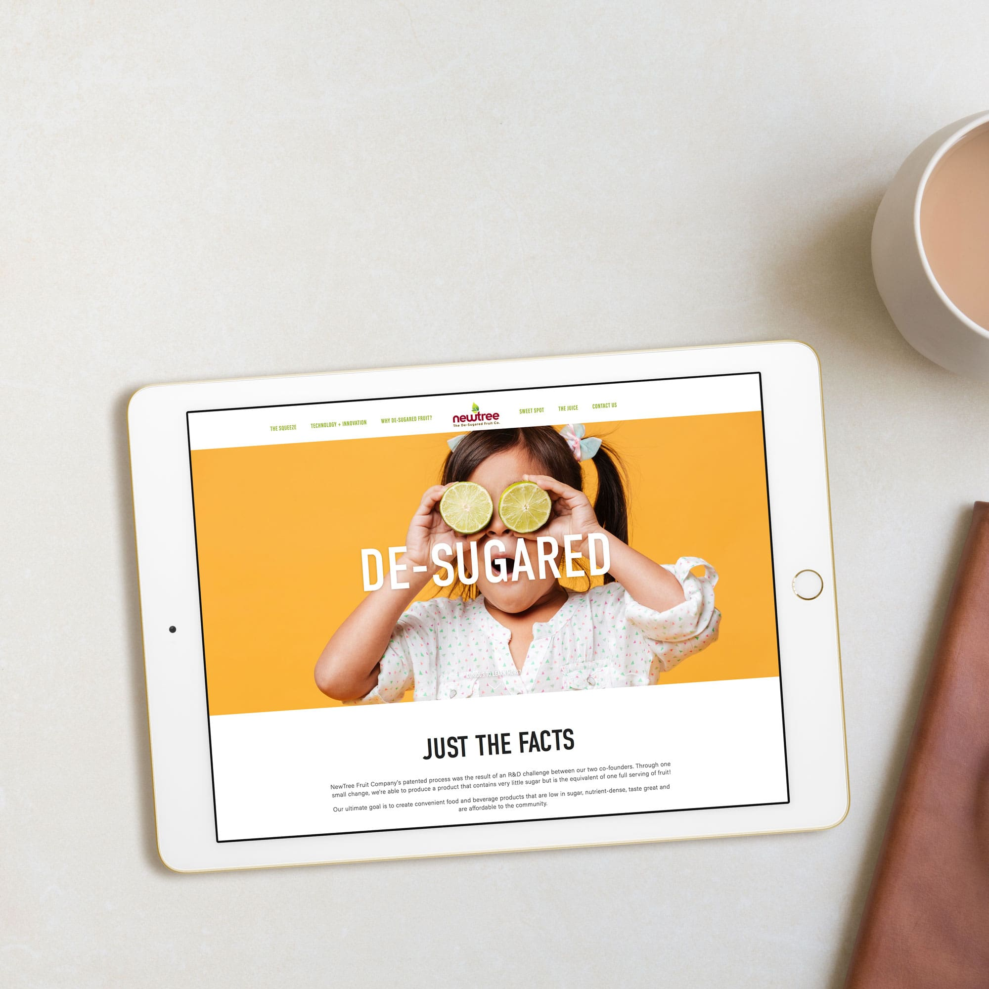 The Busy Bee Portfolio Custom Squarespace Website NewTree Fruit Company Homepage iPad Design