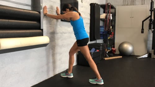 1. Standing Gastroc Stretch   3x 30-60 sec bouts   If weight being is painful you can do this stretch long sitting, using a belt or towel and pull your toes towards you.