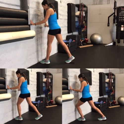 2. Further work on range of motion with this WALL DORSIFLEXION exercises  Affected foot about 3 inches from the wall, foot straight, knee in line with toes and try to see if you can get your knee to touch the wall. DO not let the heel lift from the ground. - Hold for 5 seconds and REPEAT  x20