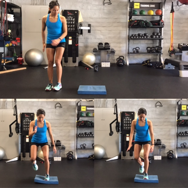 Figure 7: Lateral hop to unstable surface, goal is stick landing for 5 seconds x 20   Knee should be aligned with foot and hip.