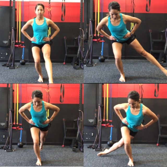 Figure 4: Star Excursion on stable surface: Single leg balance with contralateral leg reaching forward, sideways, back, and back to opposite hip   Reaching in all directions = 1 rep , Goal 3x5 Reps