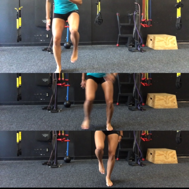Figure 6: Lateral hop on stable surface. Goal is to stick the landing for 5 seconds. x20 each side . The Knee should maintain alignment with hip and foot.