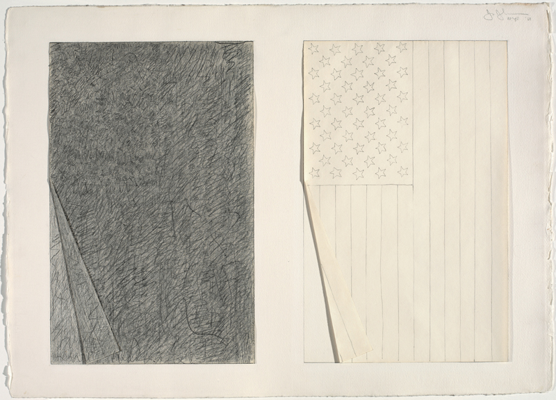 Jasper Johns.  Two Flags , 1969. Graphite pencil and collage on paper. 22 1/4 x 30 3/4 in. The Menil Collection, Houston. © Jasper Johns / Licensed by VAGA, New York, NY. Photograph: Jamie M. Stukenberg / Professional Graphics Inc., Rockford, Illinois.