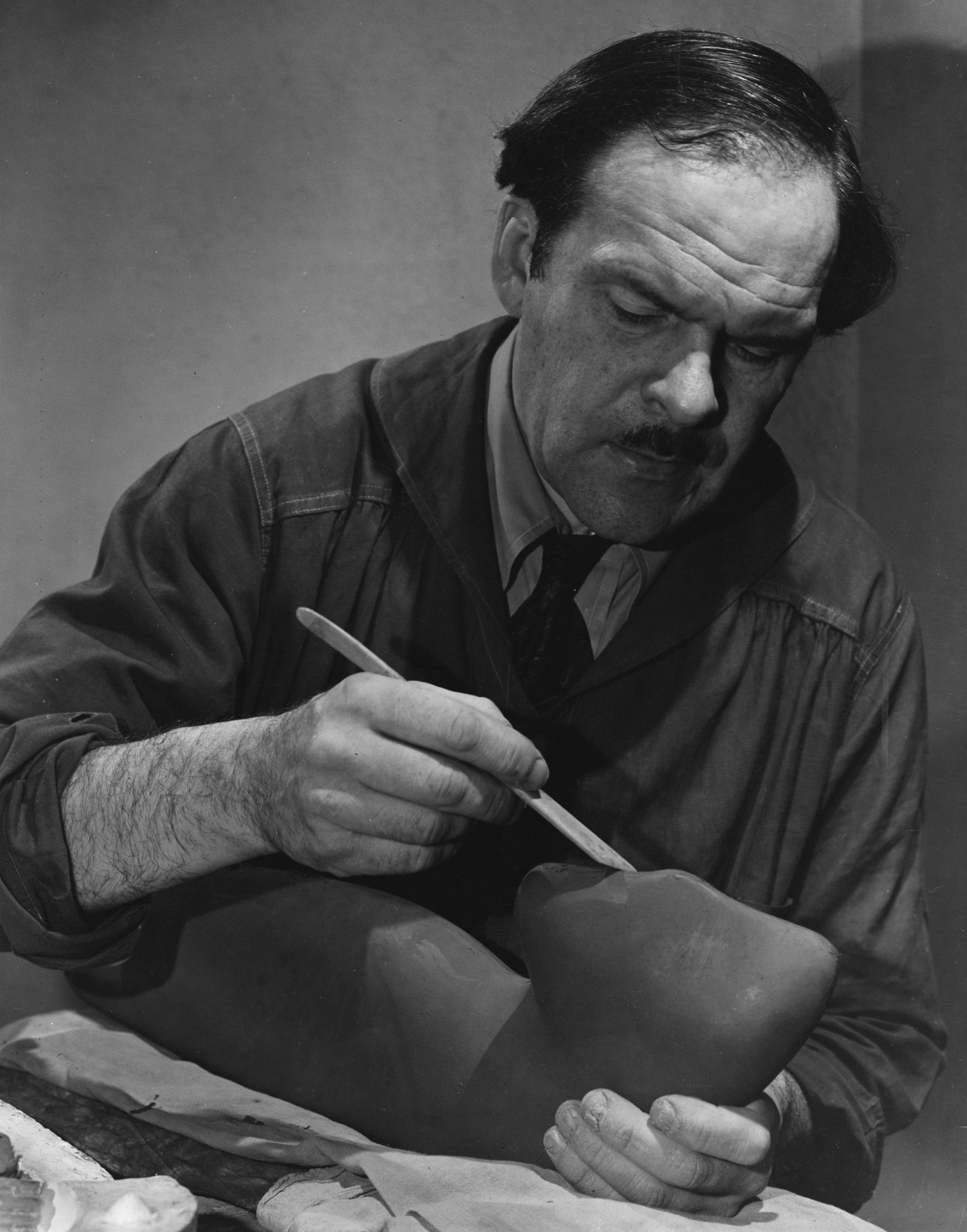 Alexander Archipenko working on  Torso in Space , circa 1935.