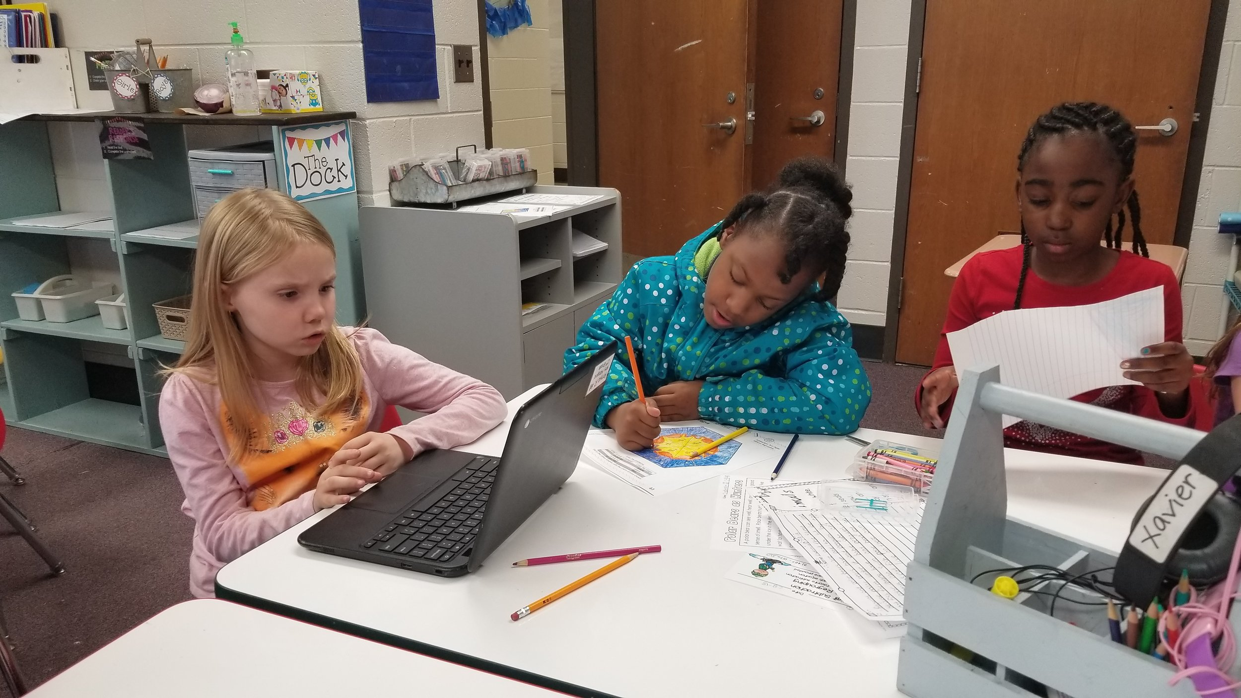 2nd graders working on classwork. With station rotation students are able to work on different assignments at their level.