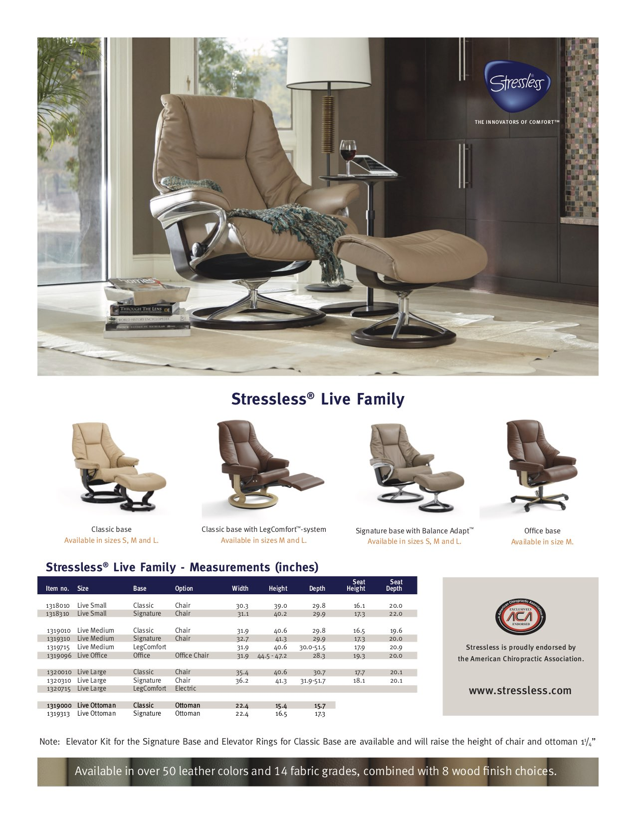Stressless Live Dimensions