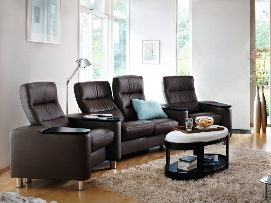 Stressless Wave Sofa featured in Dark Brown Noblesse Leather