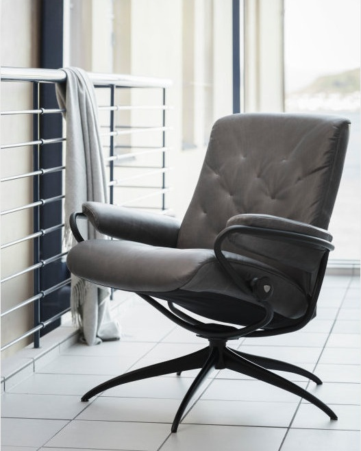 Stressless Metro Low Back Chair featured in Grey Pioneer Leather