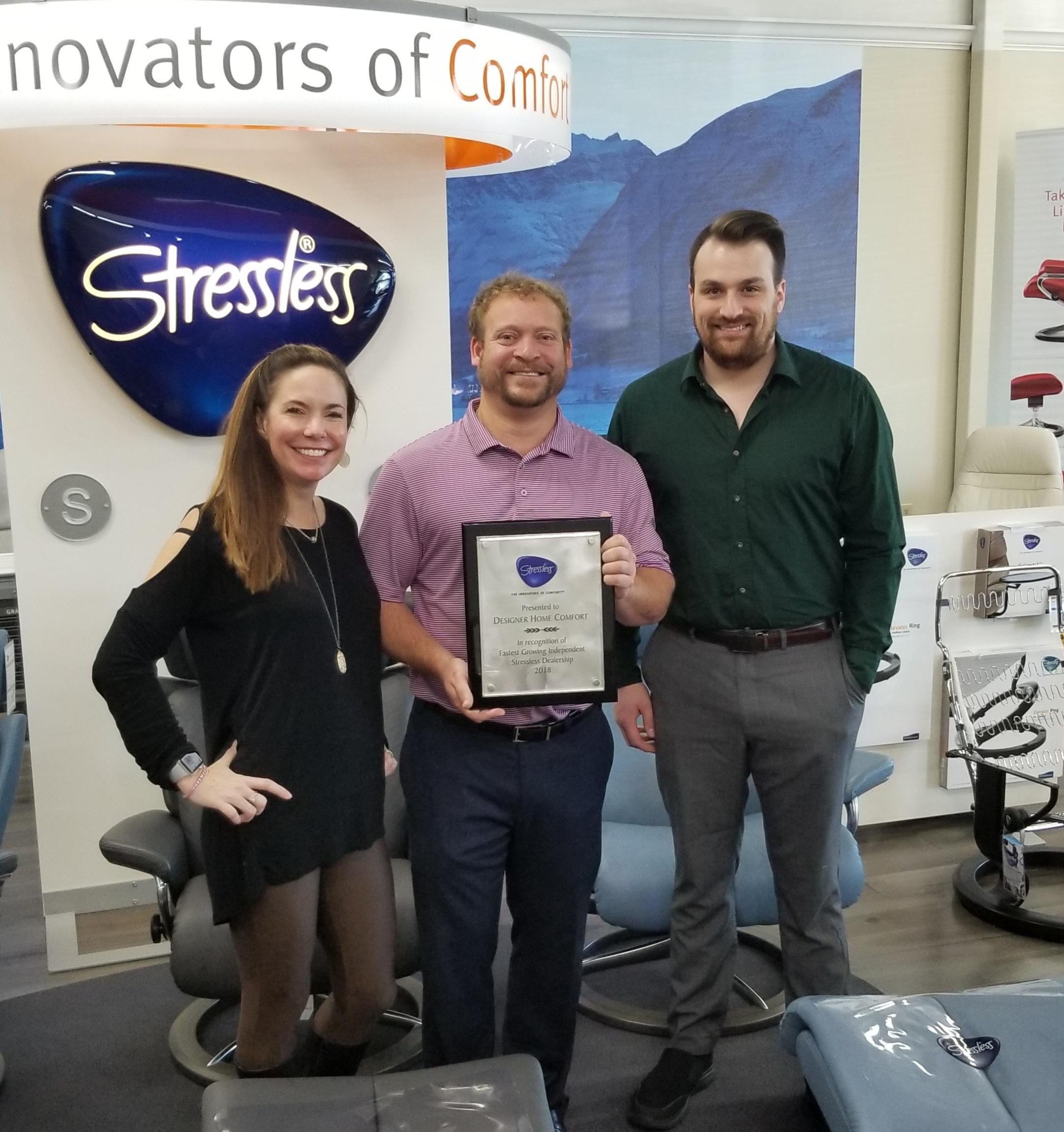 Receiving an Award From Ekornes - Fasting Growing Dealership!