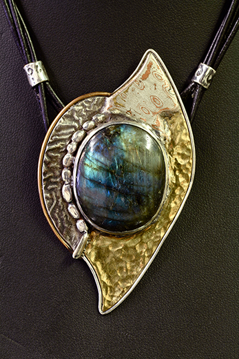 Laboradorite and Mixed Metals Pendant with Double Strand Leather.png