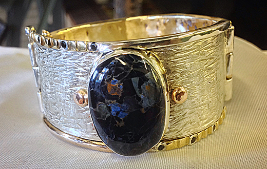 Pietersite and Black Spinel Hinged Cuff Bracelet.png