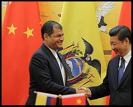 """- Photo: Rafael Correa, left, hosted       Chinese president Xi Jinping       when the latter attended an       APEC summit in 2016.      (Carlos Rodriguez/ANDES)A new player has entered the game in Latin America.In 2016, China's direct investment in the region had grown to about US$106 billion. On a recent mission to Latin America, Chinese President Xi Jinping demonstrated the size of China's ambitions by promising to double trade to $500 billion, and increase investment to $250 billion by 2025. Interestingly, these investments are concentrated in just a few countries, and Ecuador is one of them.Together, Ecuador and Venezuela receive 28 per cent of China's investment, and the two countries represent 65 per cent of all Chinese loans made on the continent in 2007-15.In late 2016, Ecuador was the first country Xi visited, en route to an APEC leaders meeting in Peru. During this official visit, he and Ecuador's then-president, Rafael Correa, signed 11 bilateral co-operation agreements, pledging investment in infrastructure, finance, agriculture and manufacturing.Perceptions in Ecuador are mixed about this largesse. Critics worry about Beijing's motives, and about the sustainability of projects receiving Chinese investment. They point to Ecuador's huge and growing debt to China. Since 2010, the country has received $15.2 billion in loans from Chinese state-owned banks. And, by tying the loans directly to oil, China has positioned itself as the dominant creditor, while securing a long-term petroleum supply.As Universidad San Francisco de Quito political science professor Maria Dagg says: """"Ecuador has made a bunch of deals with China where they've presold a lot of our oil reserves to China until 2020.""""The premise is that China does not have oil. We have oil. We sell you oil, China. And you build different projects for us. Major infrastructure projects. Roads. Dams. Which sounds good on paper.""""The problem is that there is no paper trail. Nobody knows what they're doing.""""O"""