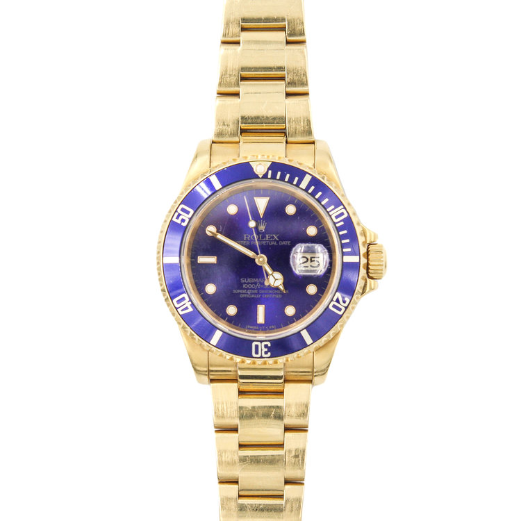 2000 18Kt Yellow Gold Blue Dial - Rolex Submariner