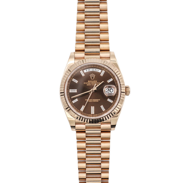 2017 18kt Rose Gold Chocolate Baguette Diamond Dial - Rolex Day Date 40