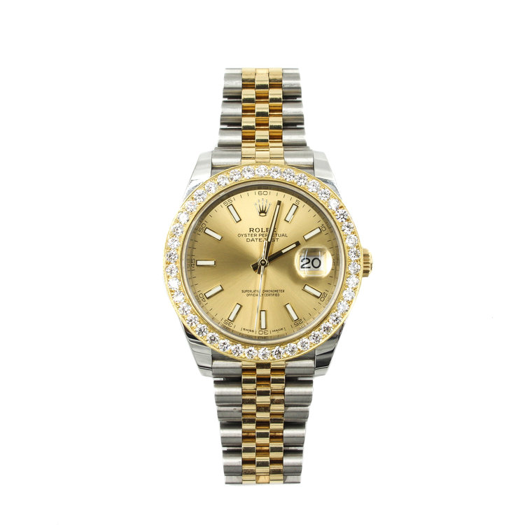 Rolex Datejust II 41mm - Two-Tone Stainless Steel &18kt Yellow Gold with White Diamond Bezel
