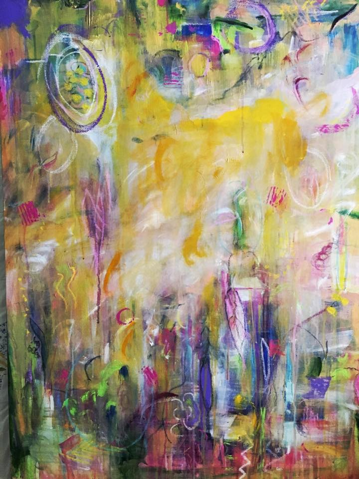 """""""All Mixed Up,"""" mixed media on canvas. Private collection of the artist."""
