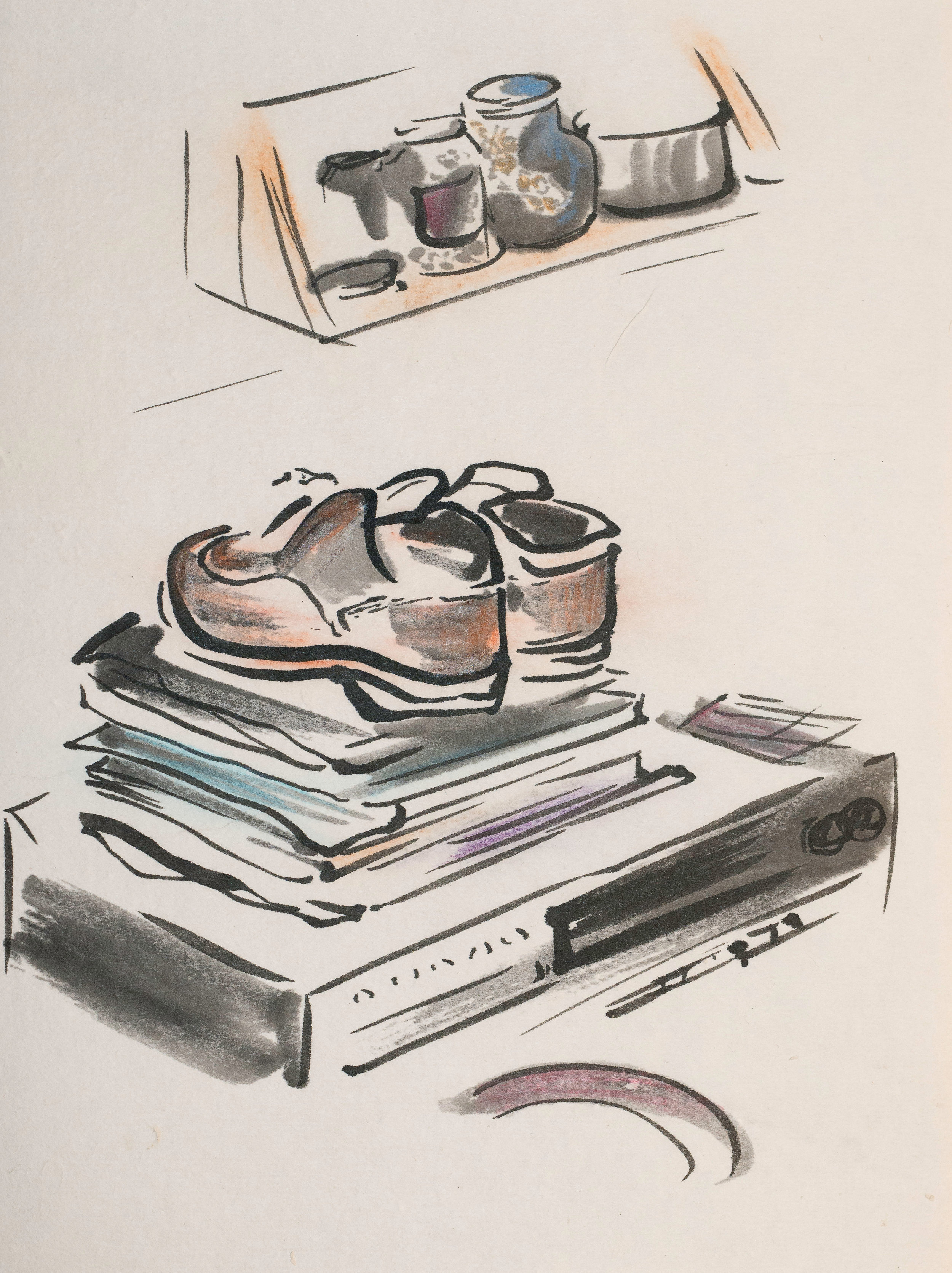 """""""Uncle Andy's Shoes"""" pastel, ink on paper 12""""x9"""" 2012 NFS"""