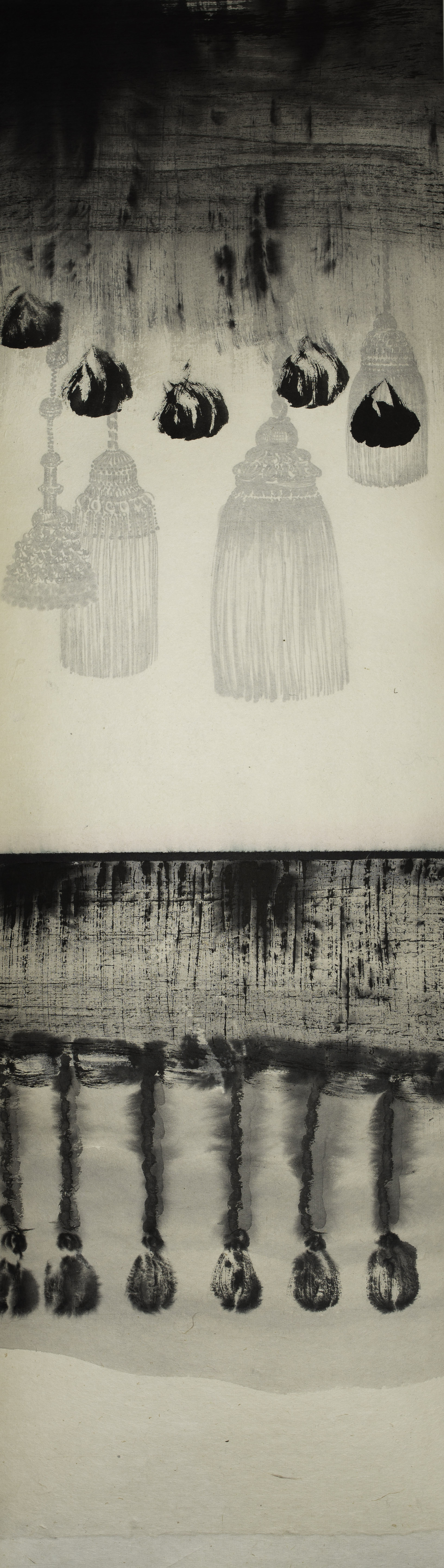 "# 14-02 ink on paper, 40""x11"" 2014"
