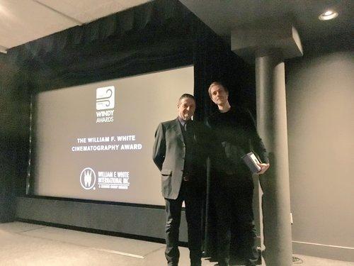 Markus Henkel accepting the Cinematography Award