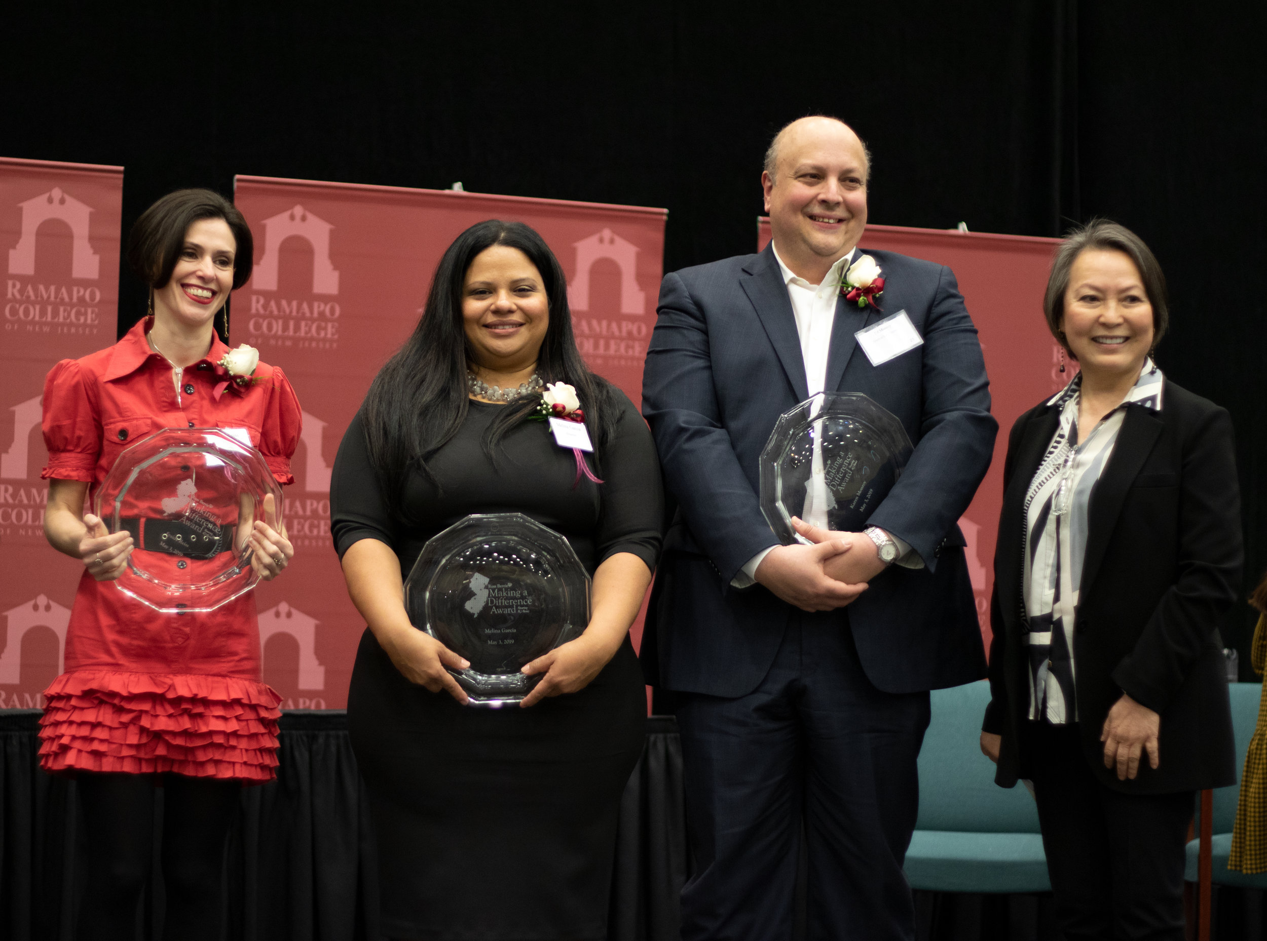 Fraidy Reiss, Melina Garcia, Ed Monroy (who accepted the award on behalf of his wife, Karen) and Angelica Berrie, President of the Board of Trustees of The Russell Berrie Foundation.