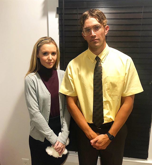 """""""MICHAEL!"""" (please note the amount of hairspray used in Dwight's hair, and the fact that these straight faces were not easy for us). Swipe to see the evolution of our Halloweens together😂🎃 #DwightandAngela #halloween2019"""