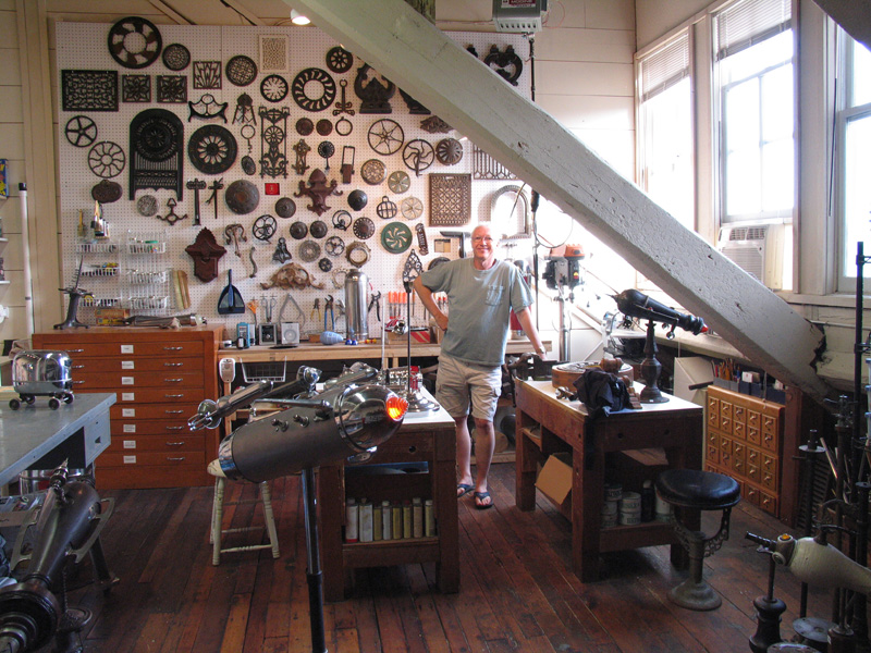 The artist in his studio at The Mills at Salmon Falls, New Hampshire