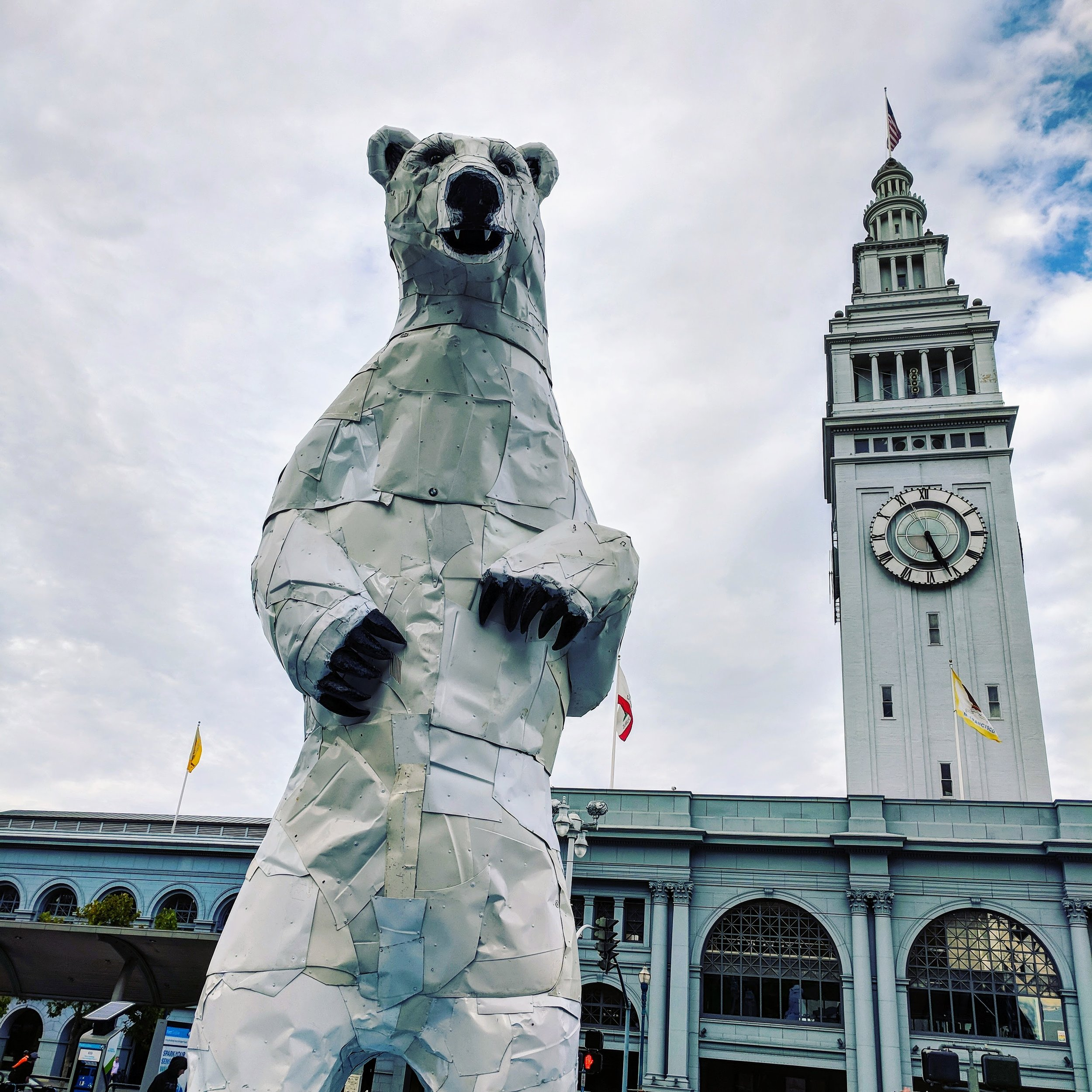 Bear Sculpture at the ferry building during a climate conference in SF.