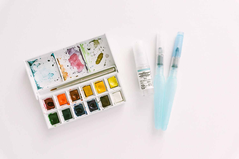 Winsor & Newton Cotman Pocket Watercolor Set w/ Muji Travel Spray Bottle and Pentel Water Brushes