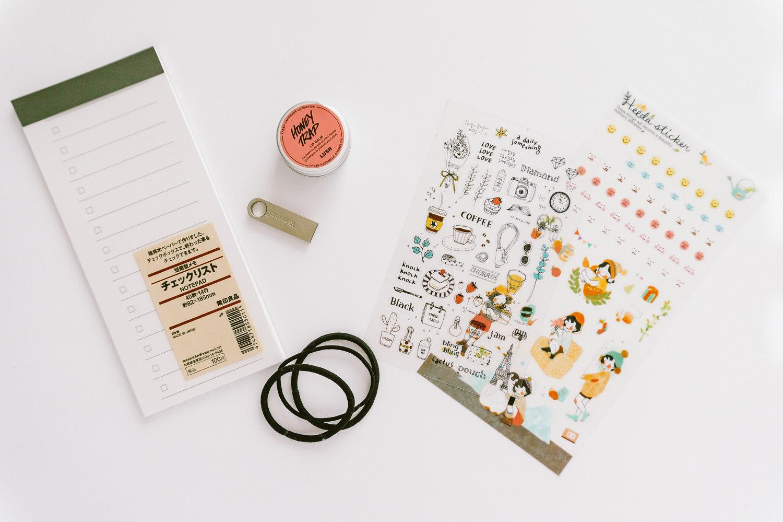 Memo Pad from Muji, Lip Balm from LUSH, Kingston USB, Stickers from Korea