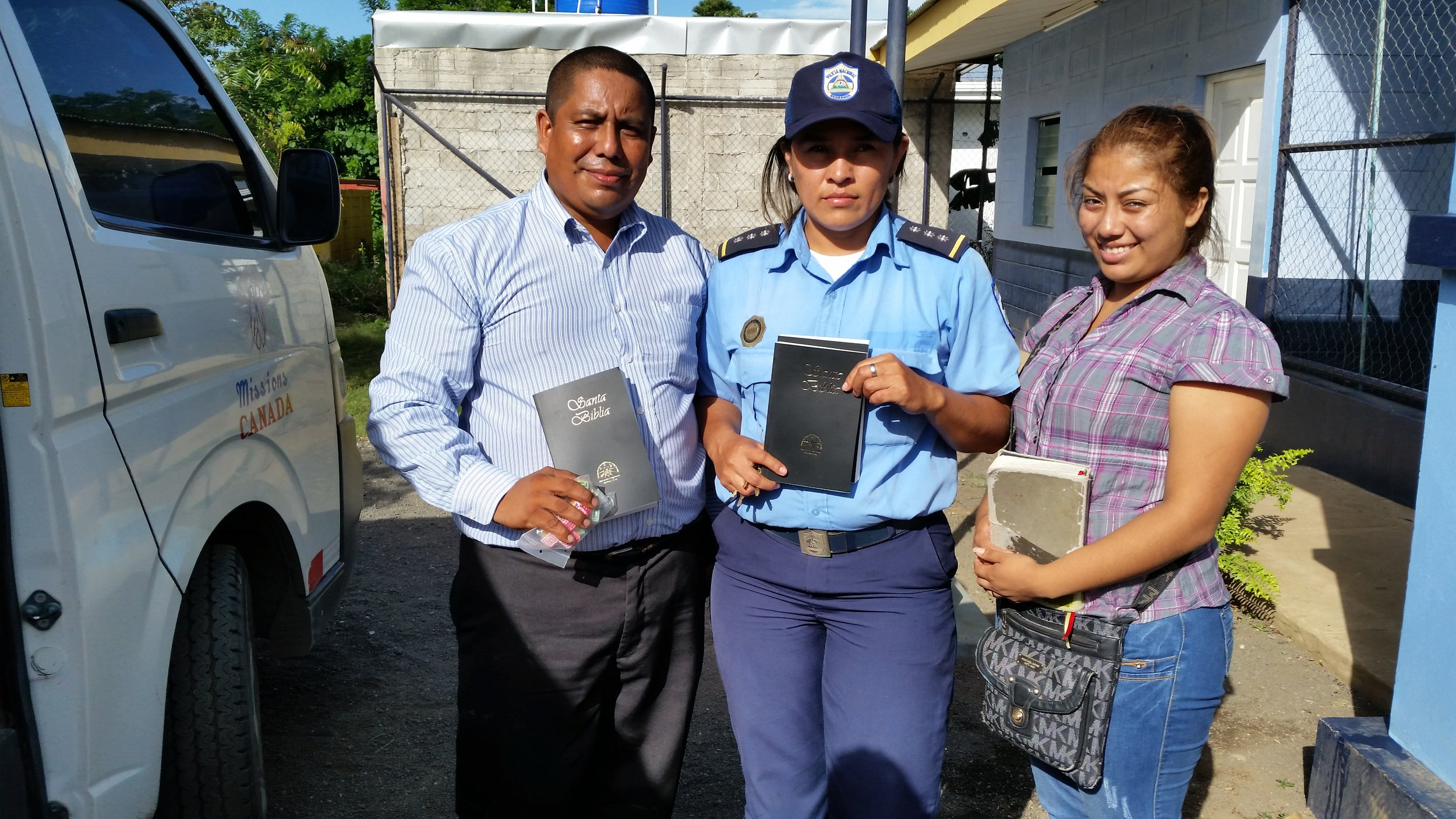 Handing out Bibles and toiletries at the jail.