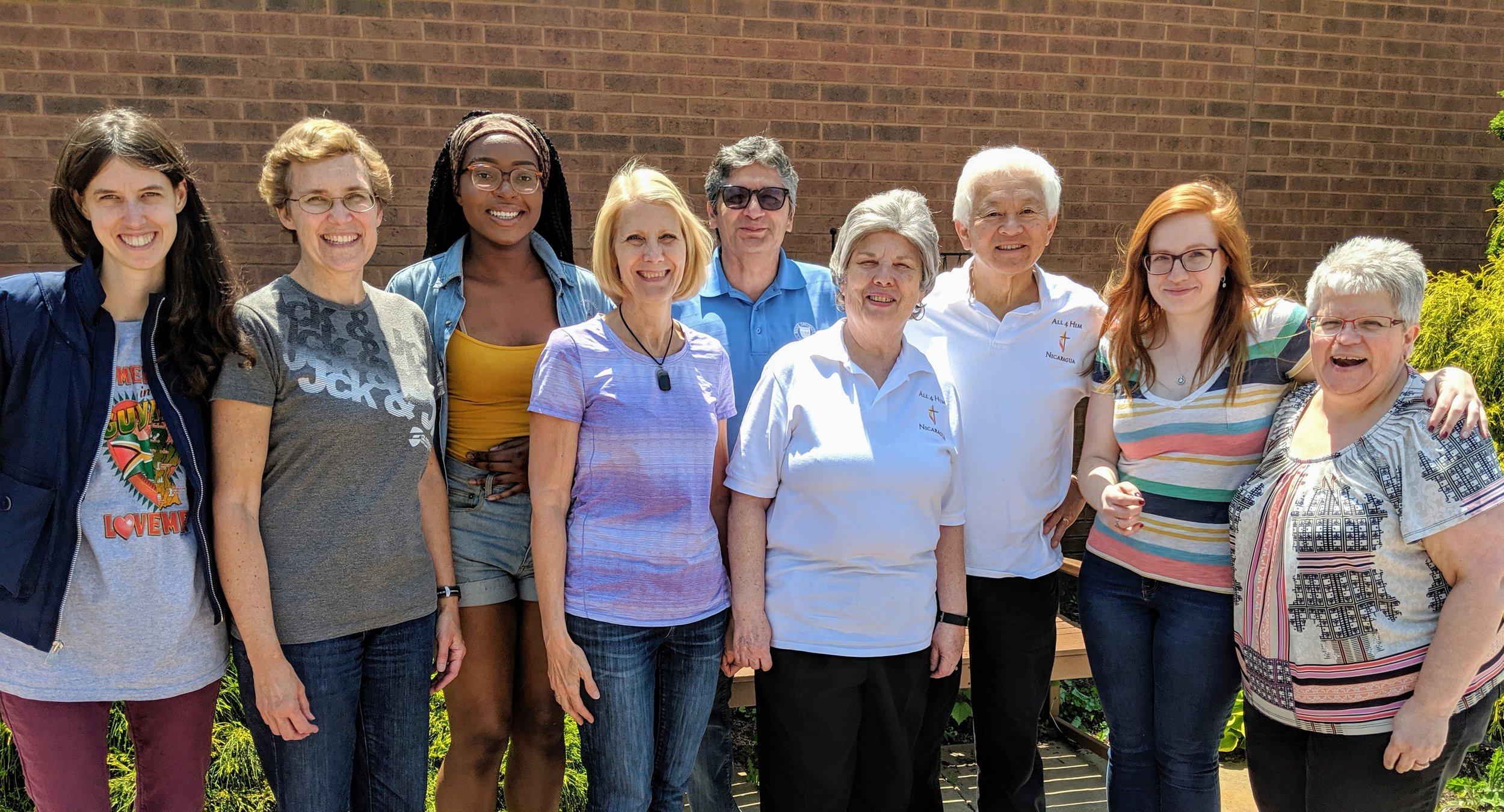 Nicaragua Mission Team 2019 from left to right: Heather Boyd, Barbara Taylor, Christine Etchu-Njang, Sue & David Aristone, Laura & Conrad Fujimoto and Emilie & Geraldine McCauley.
