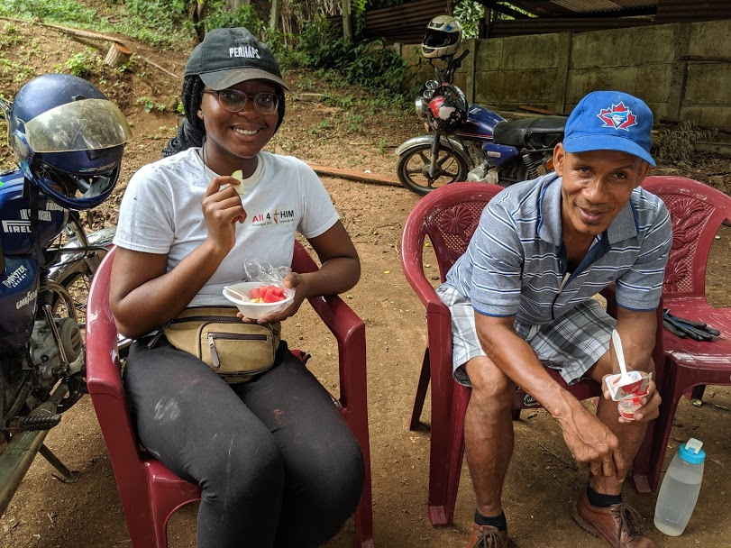 Watermelon is so refreshing in the Nicaraguan heat! Christine and PAN translator Samuel take a much-needed break from building duties.