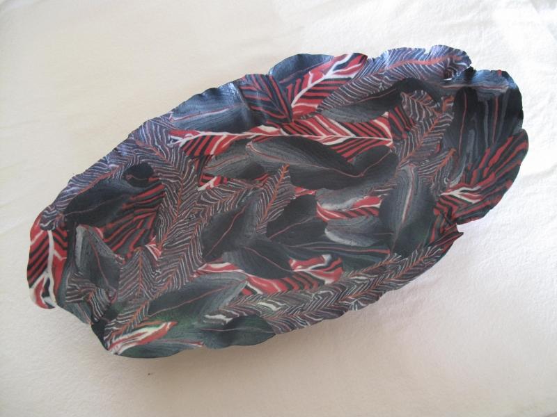 Nerikomi oval bowl, porcelain