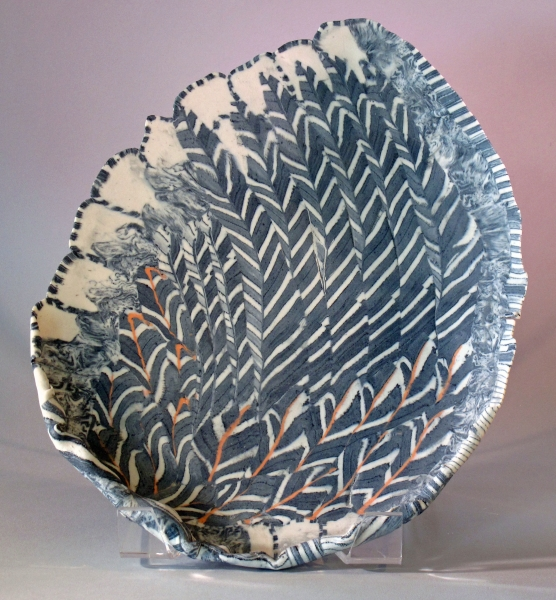 "Porcelain plate, nerikomi, ""Feathers"", private collection"