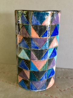 Quilted clay vessel