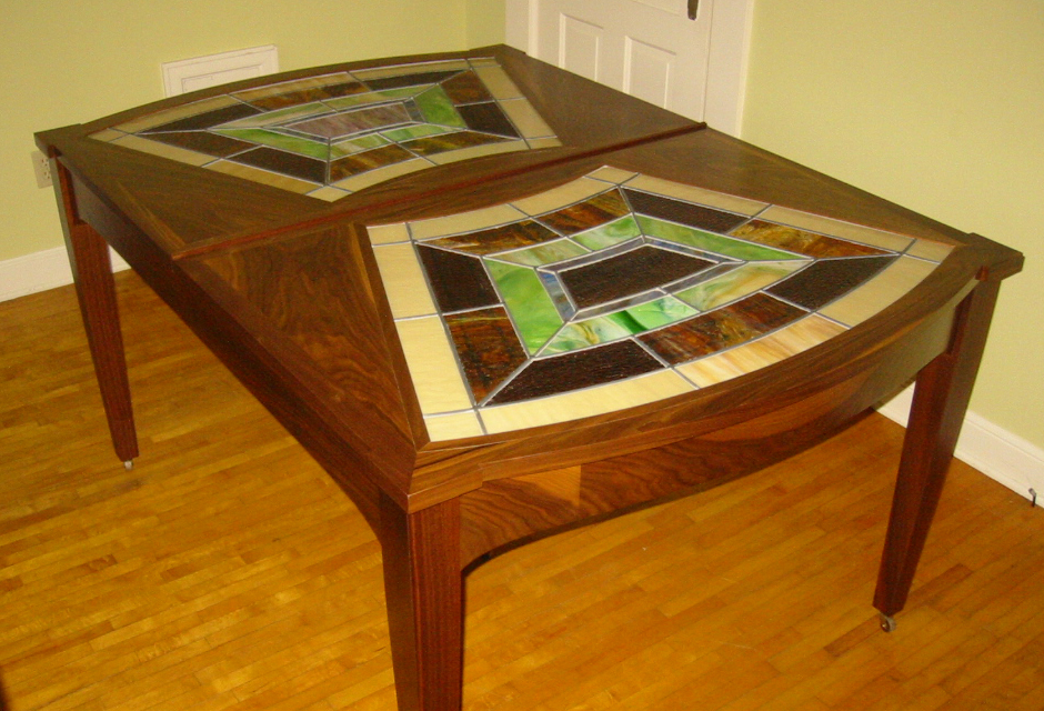 Breaking Bread - Walnut Sliding Dining Room Table with Stained Glass Inlay - Flood Home, Medford, WI