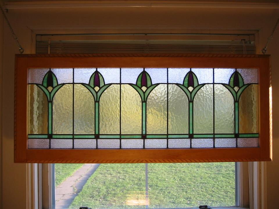 Art Deco Tulip Restoration Stained Glass with Handcarved Basswood Frame - $1050