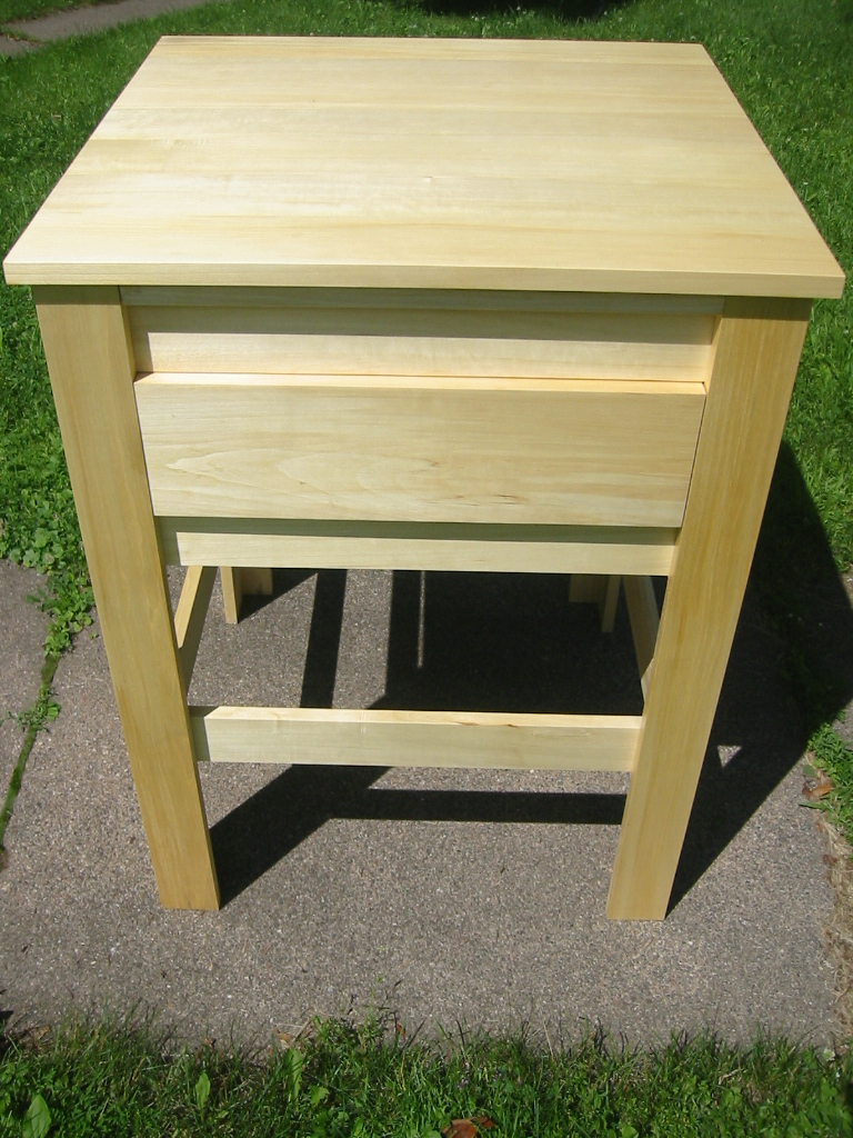 Big Tooth Aspen, Kitchen Prep Table with Cherry Cutting Board, Large Drawer and Lower Shelf. Detail