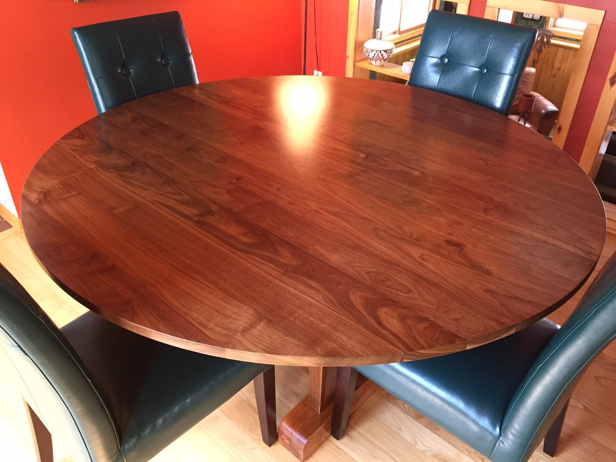 Wood, Walnut and Oak Trestle Frame Dining Room Table, Bromann Home, Rib Lake, WI